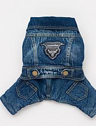 honden Jassen / Jumpsuits / Denim jacks Blauw Hondenkleding Winter / Lente/Herfst Jeans Cowboy
