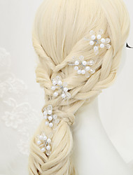 Women's Flower Girl's Crystal Alloy Imitation Pearl Headpiece-Wedding Special Occasion Hair Pin 5 Pieces