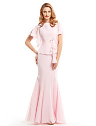 Trumpet/Mermaid Mother of the Bride Dress - Floor-length Short Sleeve Chiffon