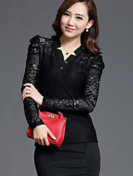 Women's V Neck Long Sleeve Lace Bottoming Shirts