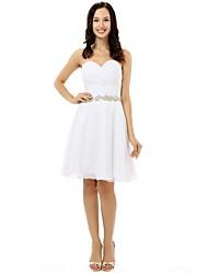 Knee-length Chiffon Bridesmaid Dress - White A-line Sweetheart