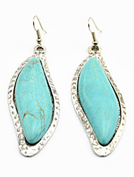Vintage Look Antique Silver Plated Stone Heavy Turquoise  Alloy Dangle Drop Earring(1Pair)
