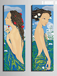 E-HOME® Stretched Canvas Art Woman In The Flowers Decoration Painting  Set of 2
