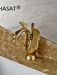 Arte Deco/Retro Difundido Single Handle Uma Abertura in Ti-PVD Torneira pia do banheiro