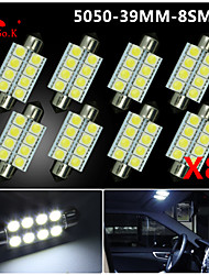 8 X White 39MM 5050 8SMD Festoon Dome Map Interior LED Light bulbs DE3423 6418