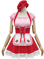 Red Polyester Maid Costume Type4