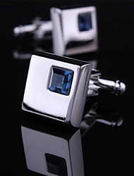 Fashion Copper Men Gift Jewelry Silver Plated Square CZ Crsytal Shirt Button Cufflinks(1Pair)