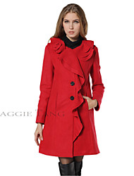 Maggie Tang Women Ruffled Wool Winter Trench Coat Jacket Parka Outerwear C009