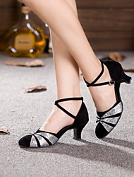 Non Customizable Women's Dance Shoes Leather / Patent Leather Leather / Patent Leather Latin / Jazz Heels Cuban HeelPractice / Beginner /