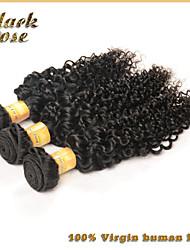 бразильский курчавый вьющиеся волосы 3шт / много девственных человеческого волоса странный вьющиеся волосы черная роза компанию странный