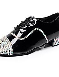 Customized Men's Dance Shoes Inlay Diamond Patent Leather Latin/Modern/Ballroom/Jazz Black