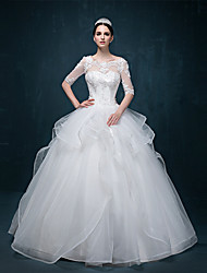 Ball Gown Wedding Dress Floor-length Scoop Tulle with Appliques / Beading