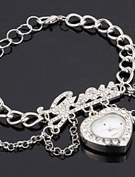 Popular Women's CZ  Rhinestone LOVE Heart Shape  Alloy Magic Chain Wrist Watch