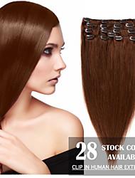 """24 """"brun clair (n ° 6) 8pcs clip en extensions de cheveux humains"""