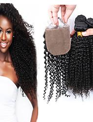 Slove Hair Top 7A Unprocessed Human Virgin Malaysian Kinky Curly Virgin Hair Bundles with Silk Closure 4 Pcs/ Lot