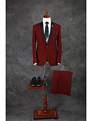 Suits Tailored Fit Shawl Collar Single Breasted One-button Cotton Blend Solid 2 Pieces Burgundy
