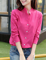 Women's Solid Blue / Red / White / Black / Green Blouse , Shirt Collar Long Sleeve