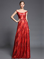 Formal Evening Dress Sheath / Column Bateau Floor-length Tulle / Charmeuse / Sequined with Beading