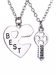 New Arrival Heart Key Best Friends Alloy Pendant Necklace(2pcs/set)