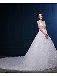 Ball Gown Wedding Dress - White Cathedral Train Strapless Organza / Satin