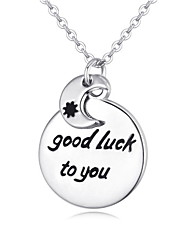 Cute Alloy Necklace Exquisite Flickering Sun Moon Silver Lettering Clavicle Chain Lucky Necklace