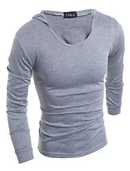 Hombre Simple Tallas Grandes Casual/Diario Primavera Otoño Camiseta,Con Capucha Un Color Moda Manga Larga Algodón Medio