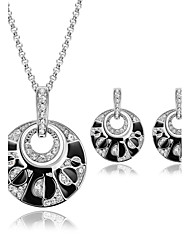 Women Wedding Jewelery Bridal Simple Rhinestones Inlaid Round Silver Pendant Necklace Earrings Two-piece Suit
