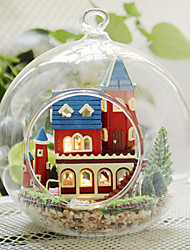 Romantic Glass Hut Assembled Toy House DIY Wood Dollhouse Including All Furniture Lights Lamp LED
