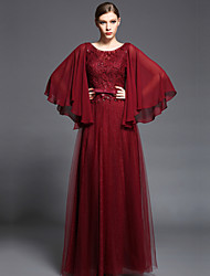 Formal Evening Dress - Burgundy A-line Scoop Floor-length Chiffon / Lace / Tulle / Charmeuse