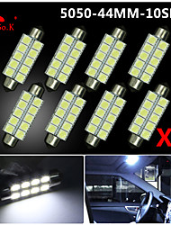 4X  White 44MM 5050 10SMD Festoon Dome Map Interior LED Light bulbs DE3423 6418 12V