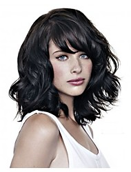 Fashion Lady Short Black Natural Color Curly Beautiful Wigs