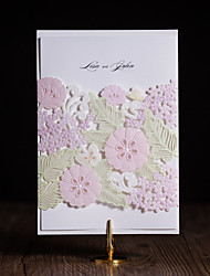 Folded Wedding Invitations 50-Invitation Cards Heart Style Modern Style Floral Style Art Paper Flowers