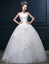 Ball Gown Wedding Dress Floor-length Jewel Organza / Satin / Tulle with Appliques / Beading / Cascading Ruffle / Sequin