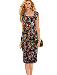 Women's Fashion Printed Retro Bodycon Sleeveless Pattern Color Dress