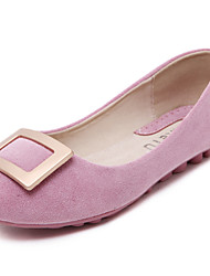 Women's Shoes Suede Flat Heel Comfort / Round Toe / Closed Toe Flats Dress / Casual Black / Pink / Purple