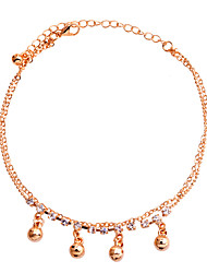 Korean Delicate Ball And Rhinestones Double Chain Anklet