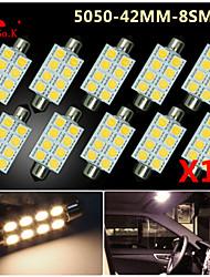 10 X Warm White 41MM 5050 8SMD Festoon Dome Map Interior LED Light bulbs DE3423 6418