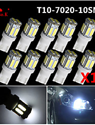 10PCS T10 W5W 192 168 194 7014 10SMD 7020 10 LED Side lights LED Wedge Light 12V