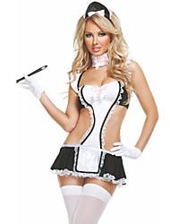 Black White Sexy Apron Maid Costume