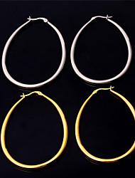 U7® Women's 2015 New Fashion Earrings Stainless Steel 18K Real Gold Plated Basketball Wives Big Oval Hoop Earrings