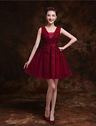 Short/Mini Tulle Bridesmaid Dress - Ruby / Burgundy / Pearl Pink / Champagne / Ink Blue A-line V-neck