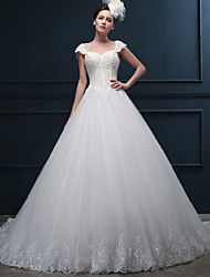 A-line Wedding Dress - Ivory Court Train Sweetheart Tulle