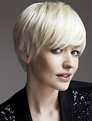 Woman's Straight White Color Short Synthetic Wigs
