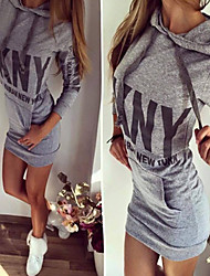 Muchen Women's Print / Letter White / Black / Gray Dresses , Sexy / Casual Hoodie Long Sleeve