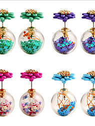 Stud Earrings Glass Alloy Double Sided Flower Star Ball Purple Red Green Light Blue Jewelry Party Daily 1pc