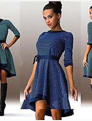 NZZQ Women's Plaid Blue / Green Dresses , Vintage / Sexy / Casual / Print / Party Round Long Sleeve