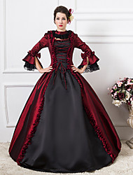 One-Piece/Dress Gothic Lolita Steampunk® / Victorian Cosplay Lolita Dress Red Patchwork / Vintage Long Sleeve Long Length Dress For Women Party Dress