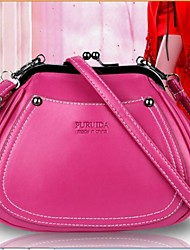 Women PU Fold over Clutch Clutch - White / Pink / Purple / Black