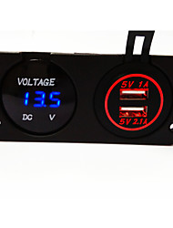 Digital Voltmeter and Dual USB Car Charger, New Products, with Waterproof Function.