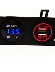 voltmètre numérique et double chargeur de voiture USB, de nouveaux produits, avec la fonction imperméable à l'eau.